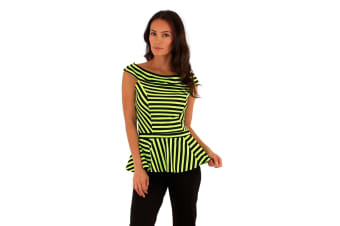 Lili London Womens/Ladies Spirit Striped Bardot Peplum Top (Black/Lime)