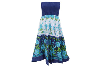 Womens/Ladies Floral Print 2 In 1 Cotton Dress (Blue)