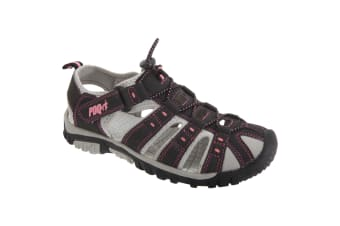 PDQ Womens/Ladies Toggle & Touch Fastening Sports Sandals (Black/Pink)