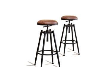 2x Levede Rustic Industrial Bar Stool Kitchen Stool Barstool Swivel Dining Chair