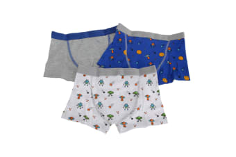 Kids By Tom Franks Boys Outer Space Trunks (Pack Of 3) (Blue/Grey/White) (2/3 Years)