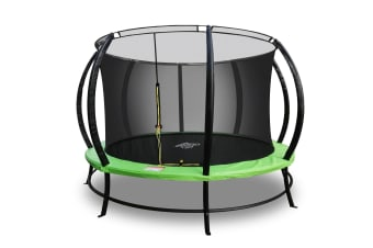 PoP Master 14FT Curved Trampoline with Basketball Hoop Ladder Storage Pouches