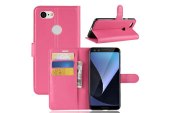 For Google Pixel 3 Leather Wallet Case Magenta Lychee Texture Cover Card Slots