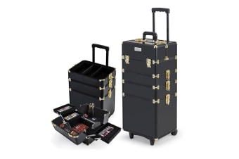 Effleur 7 in 1 Portable Cosmetics Case Beauty Makeup Holder Organiser Black Gold Trolley