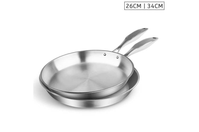 SOGA Stainless Steel Fry Pan 26cm 34cm Frying Pan Top Grade Induction Cooking