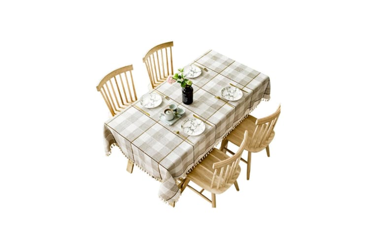 Lattice Cotton And Linen Tablecloth Wrinkle Prevention Mildew Proof Tablecloth Coffee 140*240Cm