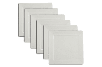 6PC Domani 25cm Casual White Evolve Square Food Platter Plate Serving Tableware