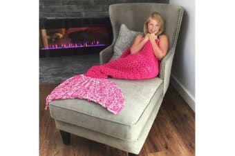 Knitted Mermaid Tail Blanket Crochet Leg Wrap Kids Child Rose Quartz 130X60Cm