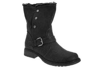 Cats Eyes Womens/Ladies Fold Down Biker Style Ankle Boots (Black)