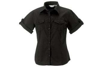 Russell Collection Womens/Ladies Short / Roll-Sleeve Work Shirt (Black) (M)