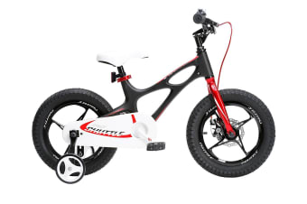 RoyalBaby Space Shuttle 18'' Kids Bike for Boys and Girls 18 Inch Magnesium Bicycle with 2 Hand Disc Brakes, Child's Cycle incl Kickstand, Black White Purple