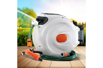 20M Retractable Water Hose Reel Garden Spray Gun Storage AutoRewind