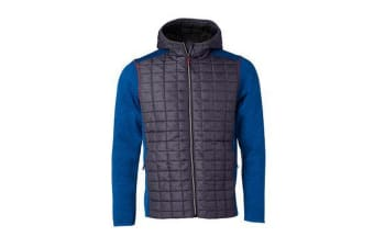 James and Nicholson Mens Knitted Hybrid Jacket (Royal Blue Melange/Anthracite Melange) (XL)