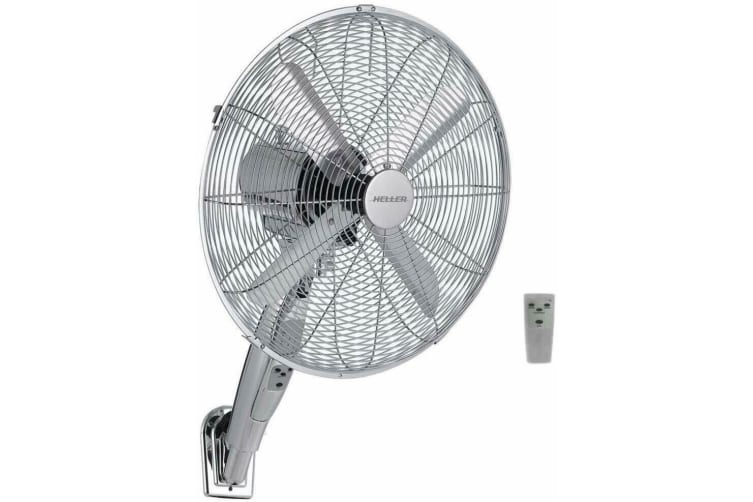 Heller Chrome Wall Mount Fan/Remote Control/3 Speed/Timer/Air Cooler 40cm