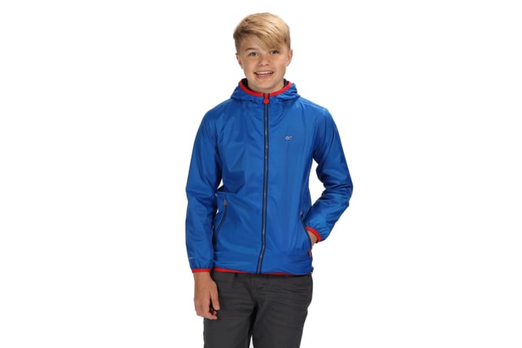 Regatta Great Outdoors Childrens/Kids Lever II Packaway Rain Jacket (Oxford Blue/Pepper) (7-8 Years)