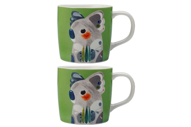 2PK Maxwell & Williams 375ml Pete Cromer Porcelain Koala Mug Glass Coffee Tea