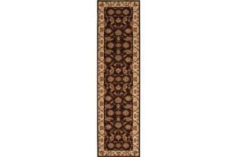 Stunning Formal Floral Design Runner Rug Brown