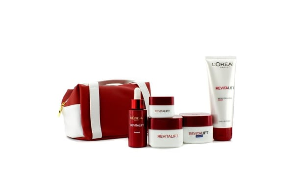 L'Oreal RevitaLift Fight Ageing Pouch: Foam 100ml + Day Cream 50ml + Night Cream 50ml + Essence 30ml + Eye Cream 15ml +Bag (5pcs+1bag)