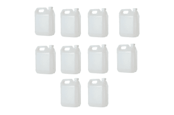 10x 5L HDPE Clear Jerrycan Bottle Plastic Empty 38mm Wadded Tamper Evident Cap