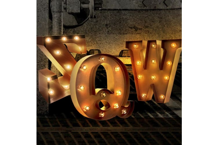 Number/Alphabet LED Letter Lights Light Up Metal Standing Hanging Marquee Decor  -  6