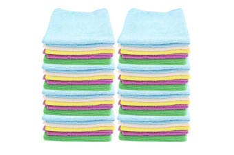 40PK White Glove 30x30cm Cleaning Microfibre Cloth Assorted Colour Towel Wash