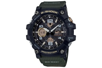 Casio G-Shock Analogue/Digital Mens Black/Green Solar Mudmaster Watch GSG-100-1A3