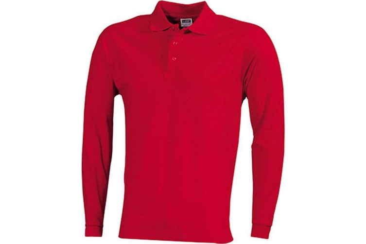 James and Nicholson Unisex Heavy Pique Long-Sleeved Polo (Red) (L)