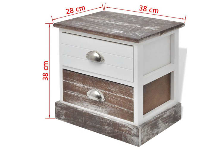 vidaXL Bedside Cabinet Brown and White