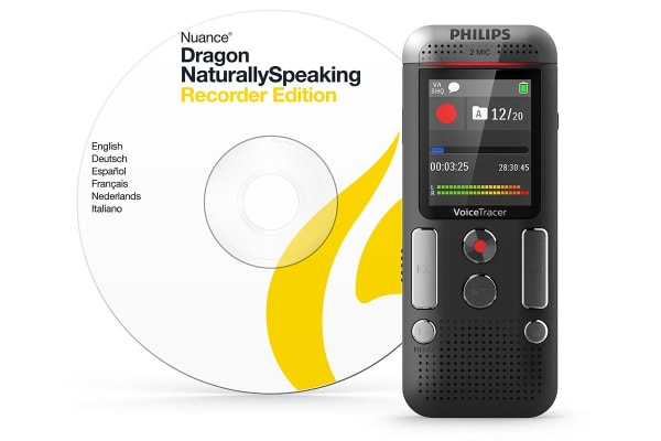 Philips 8GB 2 Mic Voice Tracer Audio Recorder with Dragon Speech-to-Text (DVT2710)