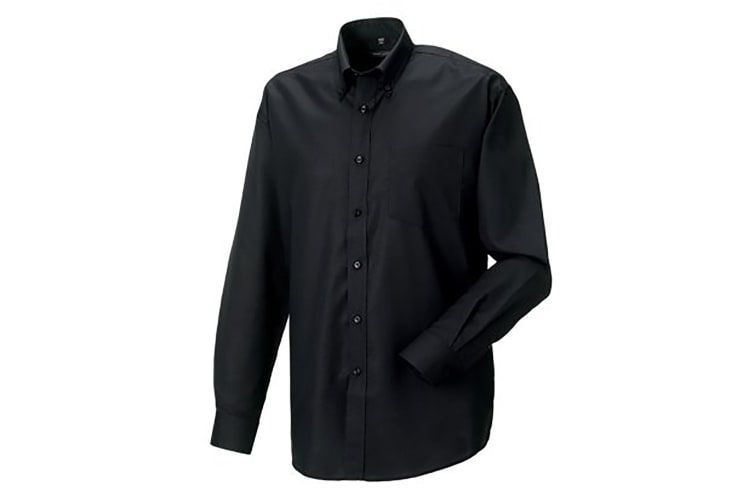 Russell Collection Mens Long Sleeve Easy Care Oxford Shirt (Black) (16.5inch)