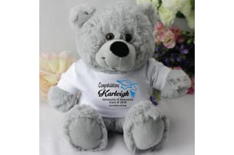 Graduation Personalised Teddy Bear Grey Plush