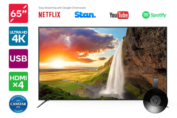 "Kogan 65"" 4K LED TV (Series 8 KU8000) including Google Chromecast"