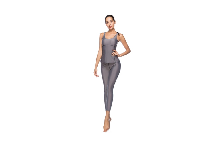 Women'S Tight-Fitting Nine-Sleeve Sports And Leisure Yoga Set Grey Xl