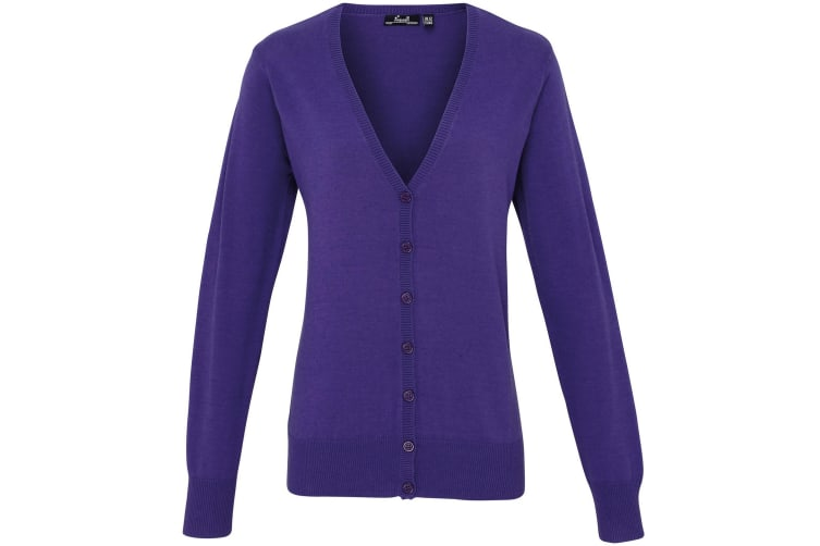 Premier Womens/Ladies Button Through Long Sleeve V-neck Knitted Cardigan (Purple) (10)