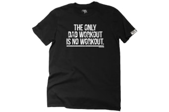 Personal Best Running Tee - The Only Bad Workout - (Medium Black Mens T Shirt)