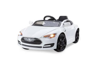 ROVO KIDS Ride-On Car TESLA MODEL S Inspired Electric Toy Battery 6V White