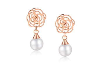 Flower & Pearl Drop Earrings-Rose Gold/Pearl White
