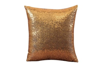 Decorative Glitzy Sequin & Comfy Satin Solid Throw Pillow Covers 18 Inch Square Pillow Case Yellow