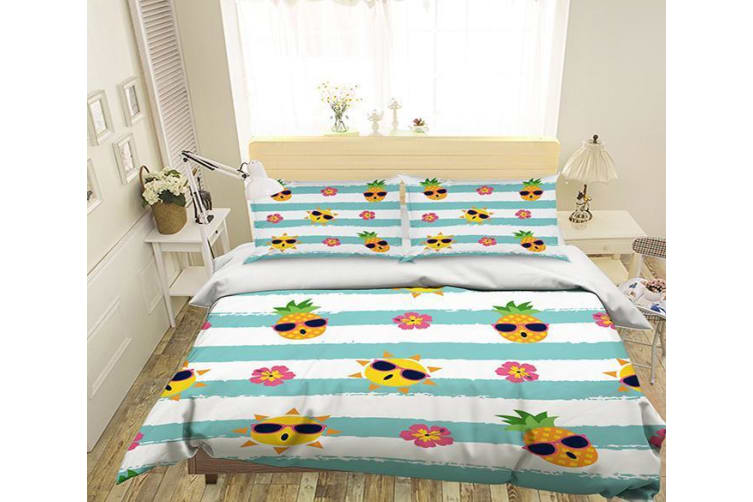 3D Cartoon Pineapples 002 Bed Pillowcases Quilt Duvet Cover Bedding Set Quilt Cover Quilt Duvet Cover, King Single
