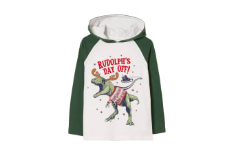 FatFace Boys Rudolphs Day Off Tee (Ecru/Green) (2-3 Years)