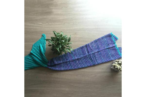 Knitted Mermaid Tail Blanket Crochet Leg Wrap Adult Ladies Blue Green 180X90Cm