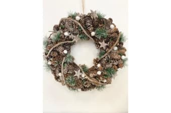 Frosted Berry Pine Cone Wreath (Multicoloured) (42cm)