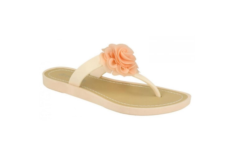Savannah Womens/Ladies Flat Toe Post Rose Trim Sandals (Pink) (4 UK)