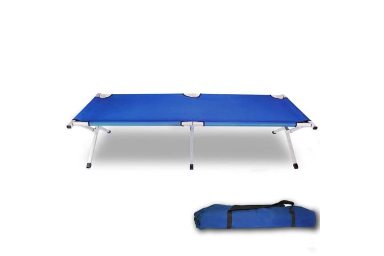 Camping Bed Folding Stretcher Light Weight with Carry Bag Camp Portable Blue