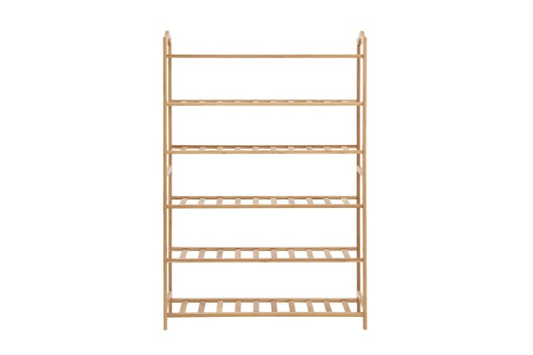 Levede Bamboo Shoe Rack Storage Wooden Organizer Shelf Stand 6 Tiers Layers 70cm