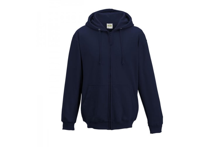 Awdis Plain Mens Hooded Full Zip Hoodie / Zoodie (New French Navy) (XL)