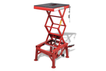 vidaXL Red Motorcycle Lift 135 kg with Foot Pad, Locking Bar, Release Valve