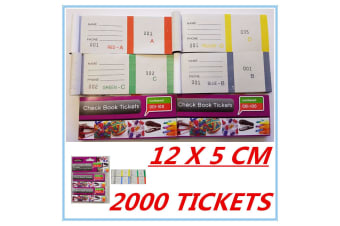 2000 RAFFLE TICKETS - CHECK BOOK TICKETS (1-100) COLOURFUL - BUSINESS PARTY DD