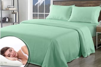 Royal Comfort 1000TC Bamboo Blend Sheet Set + Bamboo Pillow Twin Pack (Queen, Green Mist)