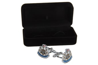 Newcastle United FC Official Metal Football Crest Cufflinks (Silver/Black/White)